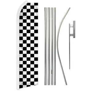 Black White Checkered Swooper Advertising Feather Flutter Flag Pole Kit Racing
