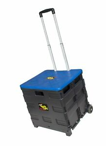Quik Cart Two wheeled Collapsible Handcart With Blue Lid Rolling Utility Cart