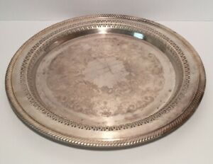 Antique Wm Rogers Silver Plated 12 1 4 Round Pierced Serving Tray Platter 170