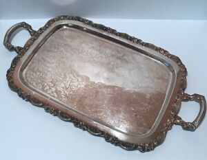 Antique Silver Plated Serving Platter Tray With Handles 24 1 2