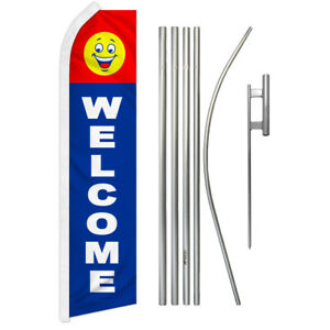 Welcome Swooper Advertising Feather Flutter Flag Pole Kit We re Open Come In