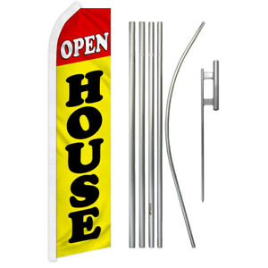 Open House yellow Super Flag Kit Advertising Super Swooper Feather Banner Sign