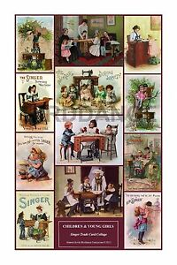 Singer Toy Sewing Machine Wall Art Card Collage Children Girls