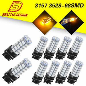 10x Amber Yellow 3157 3156 68smd Turn Signal Tail Brake Stop Led Light Bulb 12v