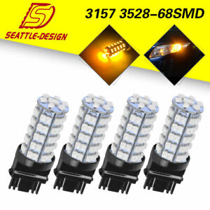 4x Amber Yellow 3157 3156 68 Smd 3528 Led Light Bulbs Turn Signal Parking Light