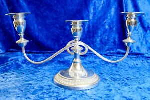 Vintage Silver Plate 3 Candle Candelabra By Viners