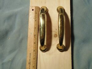 Pair Vintage Brass Door Drawer Cabinet Bar Pull Style Handles 6
