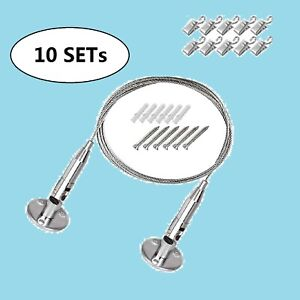 10set Wall Mount Hanging File Folder Organizer Display Steel Wire With 100 Clips