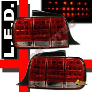 Red Led Tail Lights For 05 06 07 Ford Mustang All Models 1 Pair