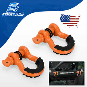 2x 3 4 D Ring Orange Shackles W Black Isolator Washers Kit 4 75 Ton