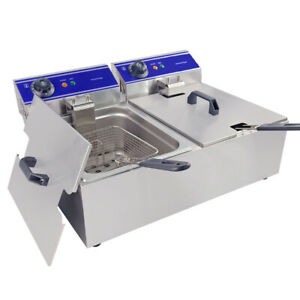Electric Deep Fryer Dual Tank Commercial Restaurant Basket Stainless Steel Us