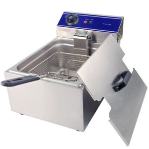 3kw Electric Deep Fryer Tank Commercial Restaurant Frying Basket Stainless Steel