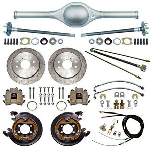 Currie 9 Ford 63 Street Rod Rear End Drilled Disc Brakes lines e Cables axle