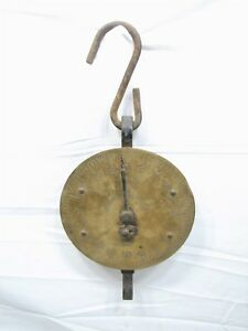 Antique John Chatillon Sons 100lb Brass Face Hanging Market Scale Tool Ny Trade