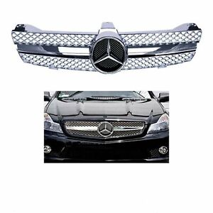 Front Sport Mesh Chrome Grill Fit For Mercedes Benz W219 Cls500 Sls600 Cls Class