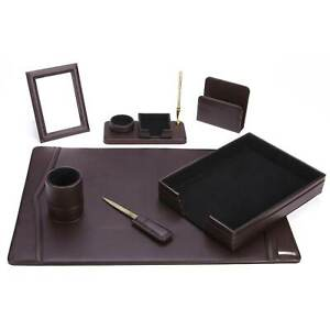 7 piece Brown Synthetic Leather Desk Set