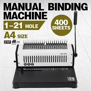Steel Comb Coil Binding Machine A4 21 Holes Paper Puncher Efficient Professional