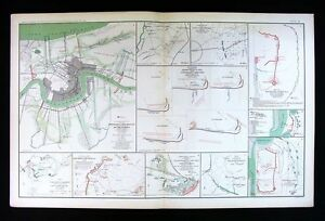 Civil War Map New Orleans Louisiana Atlanta Savannah Georgia Spanish Fort Al