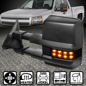For 99 02 Silverado Sierra Powered Heated Led Turn Signal Tow Towing Mirror Left