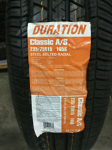 1 New 235 75 15 Duration Classic A S White Wall Tire