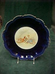 Victorian Flo Flow Blue Cabinet Plate Courting Couple Lamb Gold Trim 10 5