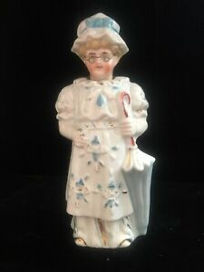 Antique Staffordshire Type Bisque Nodder Lady W Umbrella Wire Rimmed Glasses