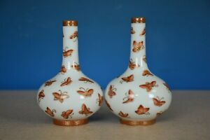 Fine Pair Of Antique Chinese Famille Rose Porcelain Vases Marked Yongzheng T7239