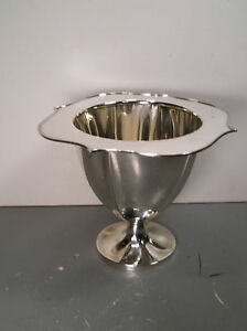 Vintage Signed Pairpoint Footed Bowl Ice 01576 6 3 4 Tall Sheffield Silver Plt