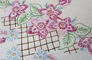 Vintage Tablecloth Hand Embroidered Pretty Flowers Linen