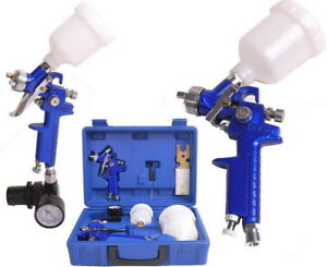 Portable 2 Hvlp 0 8 1 4mm Air Spray Nozzle Gun Kit Primer Gravity Feed Paint