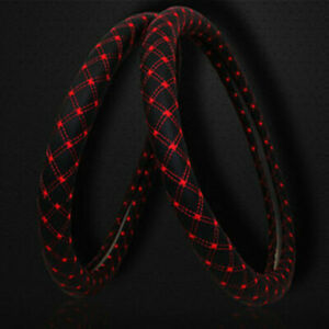 Car Pu Leather Steering Wheel Cover Anti Slip Protector Fit 38cm 15inch Red