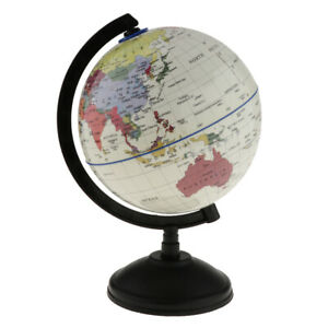 Rotating World Earth Globe Ocean Map Student Education Study Tool 14cm White