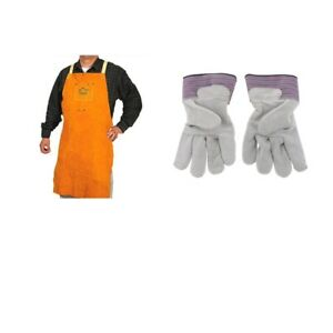 1pcs Protective Welders Apron One Pair Welding Work Cowhide Leather Gloves