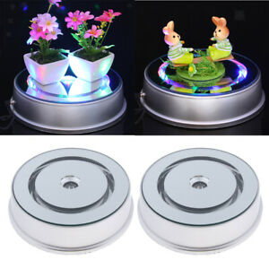 2pcs Noiseless Electric Rotating Turntables Jewelry Watch Bag Display Holder