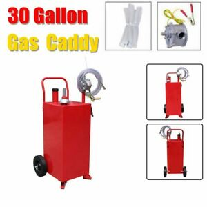Portable 30 Gallon Gas Fuel Fluid Diesel Caddy Transfer Tank Gasoline W Pump