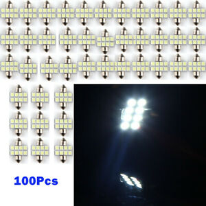 100pcs 31mm 5050 8 Smd Led Light Car Auto Interior Bulb White Panel Festoon Dome