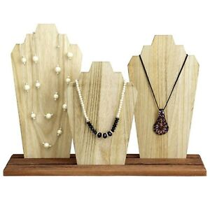 Triple Wooden Necklace Holder Jewelry Display Bust Stand