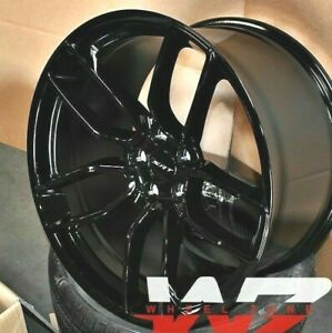20 Flow Forged Gloss Black Staggered Wheels Fit Dodge Charger Challenger Set 4