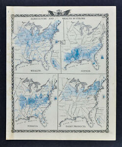1876 Warner Beers Map United States Agriculture Wealth Cotton Tobacco Dairy