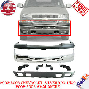 Front Bumper Chrome upper Cover Valance Brackets For 03 06 Silverado 1500