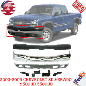 Front Bumper Chrome Steel Kit For 2003 2006 Chevy Silverado 2500hd 3500hd