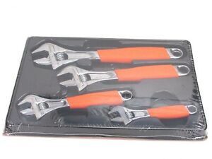 Snap On 4 pc Flank Drive Plus Orange Adjustable Wrench Set 6 12 Fadh704bo