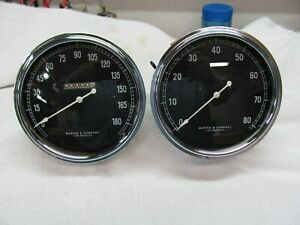 Stewart Warner Built Maring And Company 180mph 8k Tachometer Curved Glass 5 In