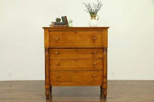 Empire Cherry Tiger Maple Antique Chest Or Dresser 30746