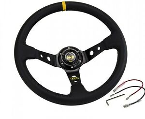14inch 350mm Omp Deep Corn Drifting Leather Steering Wheel Universal