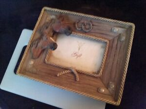Vintage Horse Picture Frame With Metal Corners 4x6