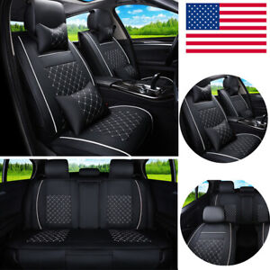Us Black Pu Leather Auto Car Seat Cover 5 seat Front rear W pillows Cushion Pad