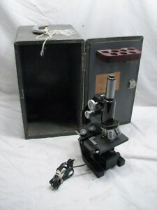 Bausch Lomb American Optical Microscope Case Oil 97x Objective Compound Stage
