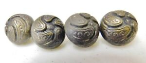Antique Button Lot Of 4 Metal High Relief Shank Art Nouveau Ornate Detail Vtg