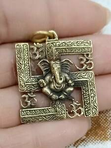 Amulet Pendant Thai Magic Lord Ganesh Deity Hindu God Great Sign Hindu Brass A